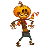 Halloween cartoon scarecrow with pumpkin head. Vector cartoon character isolated on white Stock Photo