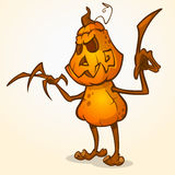 Halloween cartoon scarecrow with pumpkin head. Vector cartoon character  on white Royalty Free Stock Photos