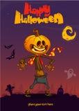 Halloween cartoon scarecrow with pumpkin head. Vector cartoon poster for Halloween party. Stock Images