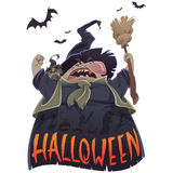 Halloween cartoon scary witch with broom and owl. Halloween text and cartoon scary witch with broom and owl yelling Royalty Free Stock Image