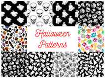 Halloween cartoon seamless pattern backgrounds. Halloween seamless pattern backgrounds with cartoon scary characters and elements. Wallpaper icons of ghost Royalty Free Stock Photography