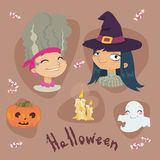 Halloween cartoon set illustration Stock Photos