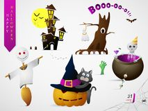 Set of Halloween theme cartoons. Halloween cartoon set including holiday symbols: pumpkins, ghosts and skeletons. Suitable for children books and greeting card Royalty Free Stock Image
