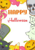 Halloween cartoon Signs and Symbols card frame. stock illustration