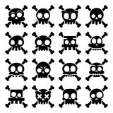 Halloween  cartoon skull with bones icons, Mexican cute black sugar skulls design set, Dia de los Muertos. Skull collection isolated on white, decoration for Royalty Free Stock Image