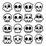 Halloween  cartoon skull icons, Mexican cute sugar skulls design set, Dia de los Muertos Royalty Free Stock Photos