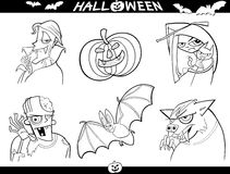 Halloween Cartoon Themes for Coloring. Cartoon Illustration of Halloween Themes, Vampire, Zombie, Witch, Werewolf, Pumpkin and Bat Funny Set for Coloring Book or Royalty Free Stock Photos
