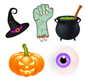 Halloween cartoon vector set, symbols collection. set of vector objects, pumpkins, witch hat cauldron, and more.  Stock Images