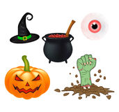 Halloween cartoon vector set, symbols collection. set of vector objects, pumpkins, witch hat cauldron, and more. Vector Set of cut Royalty Free Stock Photos