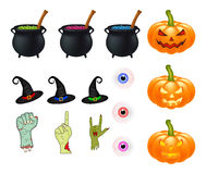 Halloween cartoon vector set, symbols collection. set of vector objects, pumpkins, witch hat cauldron, and more. Vector Set of cut Stock Photography
