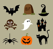 Halloween Cartoons. Collection of Halloween Cartoons For Web Or Print Stock Images