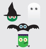 Halloween Cartoons with Big Eyes. A Halloween cartoon set with characters that have large buggy eyes Stock Image