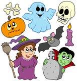 Halloween cartoons collection vector illustration