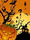 Halloween Carved Pumpkin Bats Moon Cemetery Stock Photography