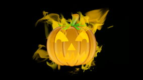 Halloween Carved Pumpkin Burning with Fire Flames on Black Background stock video