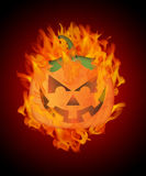 Halloween Carved Pumpkin with Flames Background. Halloween Carved Pumpkin Jack-O-Lantern with Fire Flames Background Illustration Royalty Free Stock Photo
