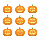 Halloween carved pumpkins. Carved face emotions set. Vector. Illustration vector illustration