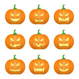 Halloween carved pumpkins. Carved face emotions set. Vector Royalty Free Stock Images
