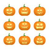 Halloween carved pumpkins. Carved face emotions set. Vector. Illustration stock illustration