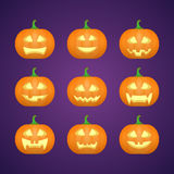 Halloween carved pumpkins. Carved face emotions set. Vector Stock Photos