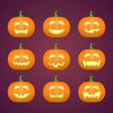 Halloween carved pumpkins. Carved face emotions set. Vector. Illustration royalty free illustration