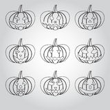 Halloween carved pumpkins outline icons set eps10 Royalty Free Stock Photo