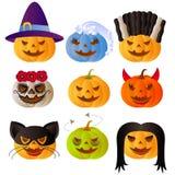 9 halloween carved pumpkins. Set of 9 halloween carved pumpkins Stock Photo
