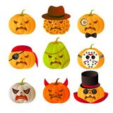 9 halloween carved pumpkins. Set of 9 halloween carved pumpkins Stock Photography