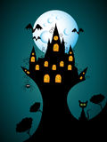 Halloween castel. Vector halloween picture with castle Royalty Free Stock Photos