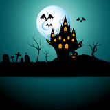 Halloween castel. Vector halloween picture with castle Royalty Free Stock Image