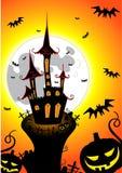 Halloween castle. With bats pumpkins Stock Photos