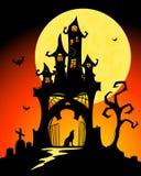 Halloween castle. Black halloween castle. Vector cartoon illustration Royalty Free Stock Photo