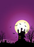 Halloween Castle. Illustration of a spooky haunted castle on hill inside halloween landscape Royalty Free Stock Photos