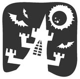 Halloween castle. White castle silhouette on a black background. Halloween illustration Royalty Free Stock Images