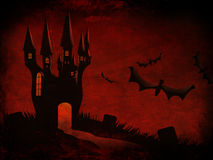 Halloween Castle and bats Stock Photography