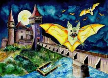 Halloween castle with bats. Bats flying near a spooky Halloween castle and bridge at night Stock Image