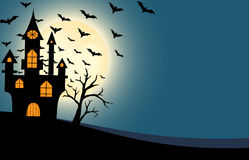 Halloween castle and bats full moon night background Royalty Free Stock Photos