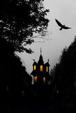 Halloween, castle and bird Stock Photo