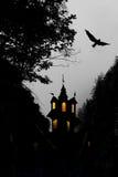 Halloween, castle and bird stock photo