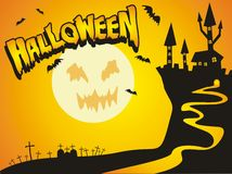 Halloween castle card Stock Images