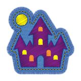 Halloween Castle Embroidery Denim Patch Design