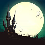 Halloween Castle and a Full Moon. Illustration of a Landscape with a Spooky Haunted Halloween Castle and a Full Moon Royalty Free Stock Image