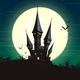 Halloween Castle and a Full Moon. Illustration of a Landscape with a Spooky Haunted Halloween Castle and a Full Moon Royalty Free Stock Photography