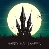 Halloween Castle and a Full Moon. Illustration of a Landscape with a Spooky Haunted Halloween Castle and a Full Moon Royalty Free Stock Photo