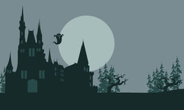 Halloween castle and ghost scary. With gray backgrounds Royalty Free Stock Photo