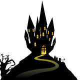 Halloween castle on hill  on white background,  Royalty Free Stock Photos