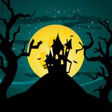 Halloween castle illustration Stock Images
