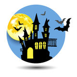 Halloween castle illustration horror night silhouette Royalty Free Stock Photography