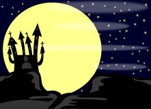 Halloween castle at night with moon Royalty Free Stock Image