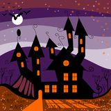 Halloween castle. Perfect illustration for Halloween holiday. Vector Stock Photo